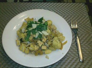 Tofu Cauliflower over Bulgur Wheat
