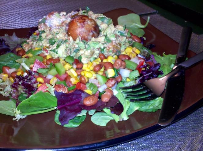 Corn Salsa and Guacamole Salad