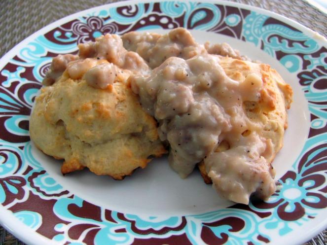 Vegetarian Sausage Gravy and Vegan Garlic Biscuits