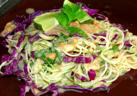 raw zucchini angel hair pad thai noodles with peanut satay sauce