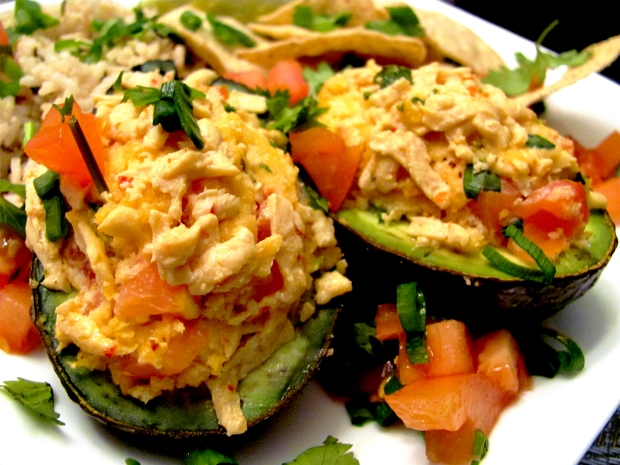 Vegan stuffed baked avocados