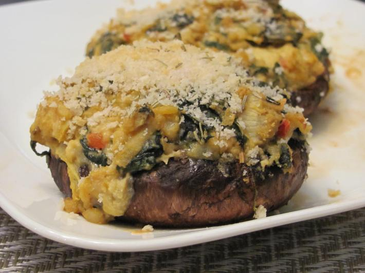 Spinach and Artichoke Hummus Stuffed Portobellos