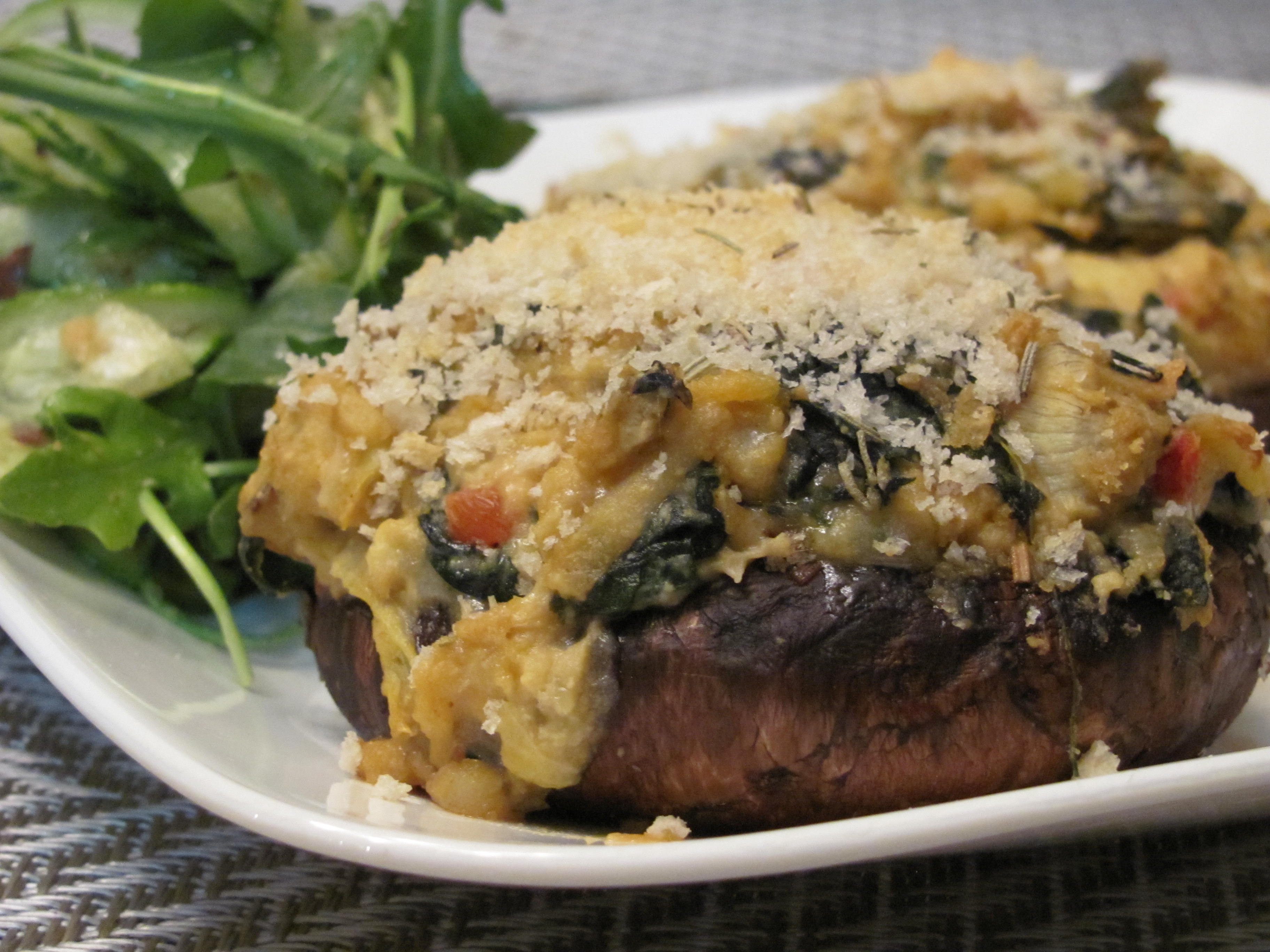 Creamy Spinach and Artichoke Hummus Stuffed Portobello Mushrooms ...