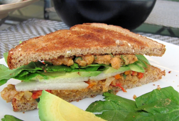 Cilantro Lime Chili Pepper Hummus Sanwich