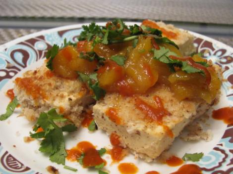 baked coconut crusted tofu with mango chutney