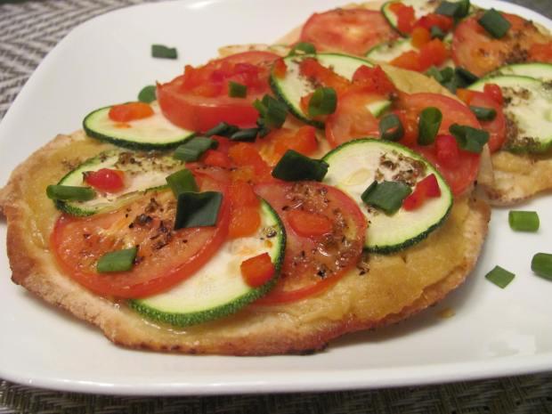 Tomato and Zucchini Pita Pizzas