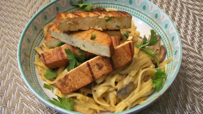 Cajun Grilled Tofu and Mushroom Pasta