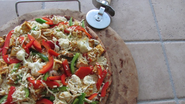 Indian Style Curry Tofu Grilled Pizza
