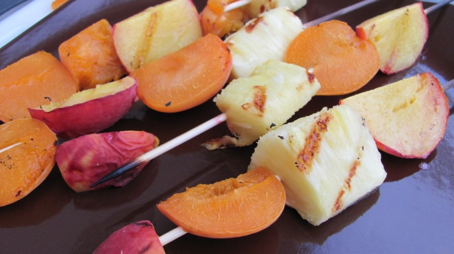 Grilled Fruit and Lavender Vanilla Ice Cream