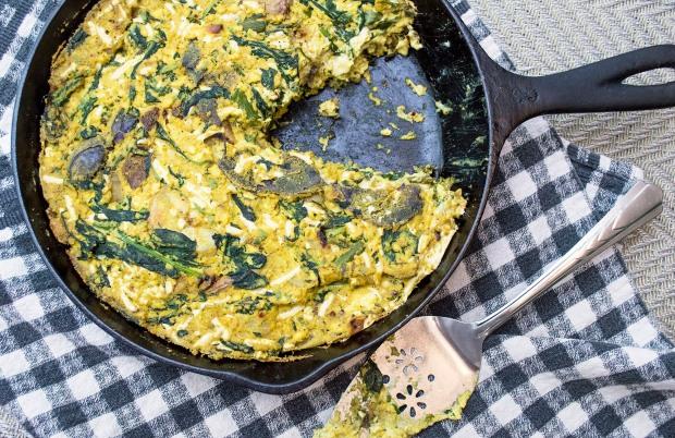 Vegan Potato, Spinach and Onion Crustless Quiche